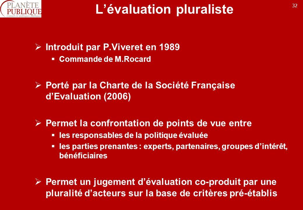 32 Lévaluation pluraliste Introduit par P.Viveret en 1989 Commande de M.Rocard Porté par la Charte de la Société Française dEvaluation (2006) Permet la confrontation de points de vue entre les responsables de la politique évaluée les parties prenantes : experts, partenaires, groupes dintérêt, bénéficiaires Permet un jugement dévaluation co-produit par une pluralité dacteurs sur la base de critères pré-établis