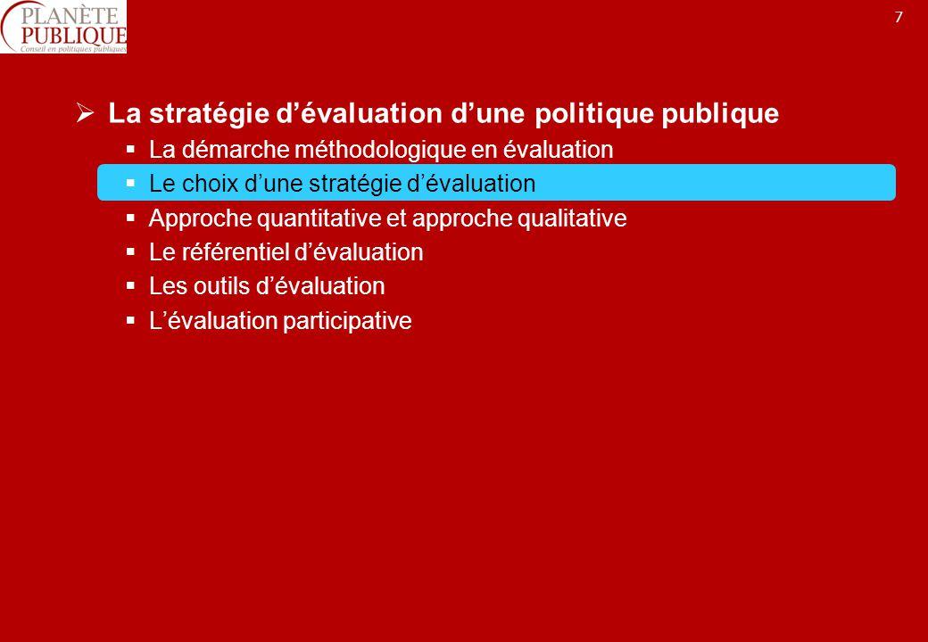 7 La stratégie dévaluation dune politique publique La démarche méthodologique en évaluation Le choix dune stratégie dévaluation Approche quantitative et approche qualitative Le référentiel dévaluation Les outils dévaluation Lévaluation participative