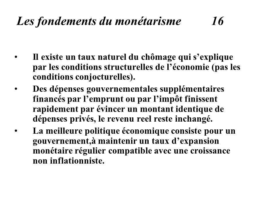 Les fondements du monétarisme 16 Il existe un taux naturel du chômage qui sexplique par les conditions structurelles de léconomie (pas les conditions conjocturelles).