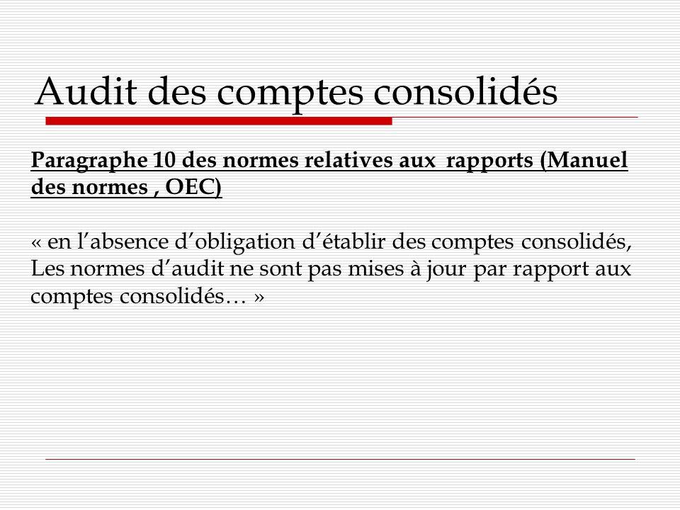 Audit des comptes consolidés Paragraphe 10 des normes relatives aux rapports (Manuel des normes, OEC) « en labsence dobligation détablir des comptes consolidés, Les normes daudit ne sont pas mises à jour par rapport aux comptes consolidés… »