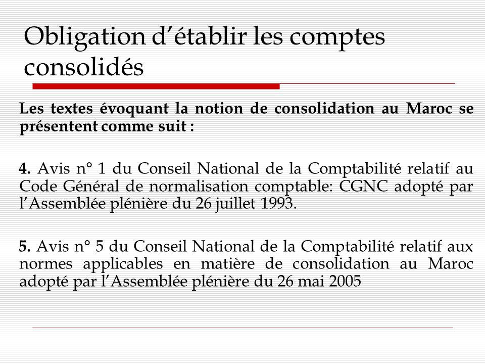 Obligation détablir les comptes consolidés Les textes évoquant la notion de consolidation au Maroc se présentent comme suit : 4.