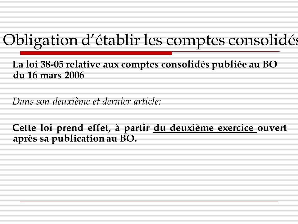 Obligation détablir les comptes consolidés La loi 38-05 relative aux comptes consolidés publiée au BO du 16 mars 2006 Dans son deuxième et dernier article: Cette loi prend effet, à partir du deuxième exercice ouvert après sa publication au BO.