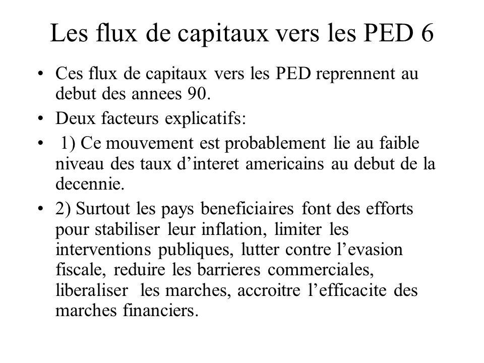 Les flux de capitaux vers les PED 6 Ces flux de capitaux vers les PED reprennent au debut des annees 90.