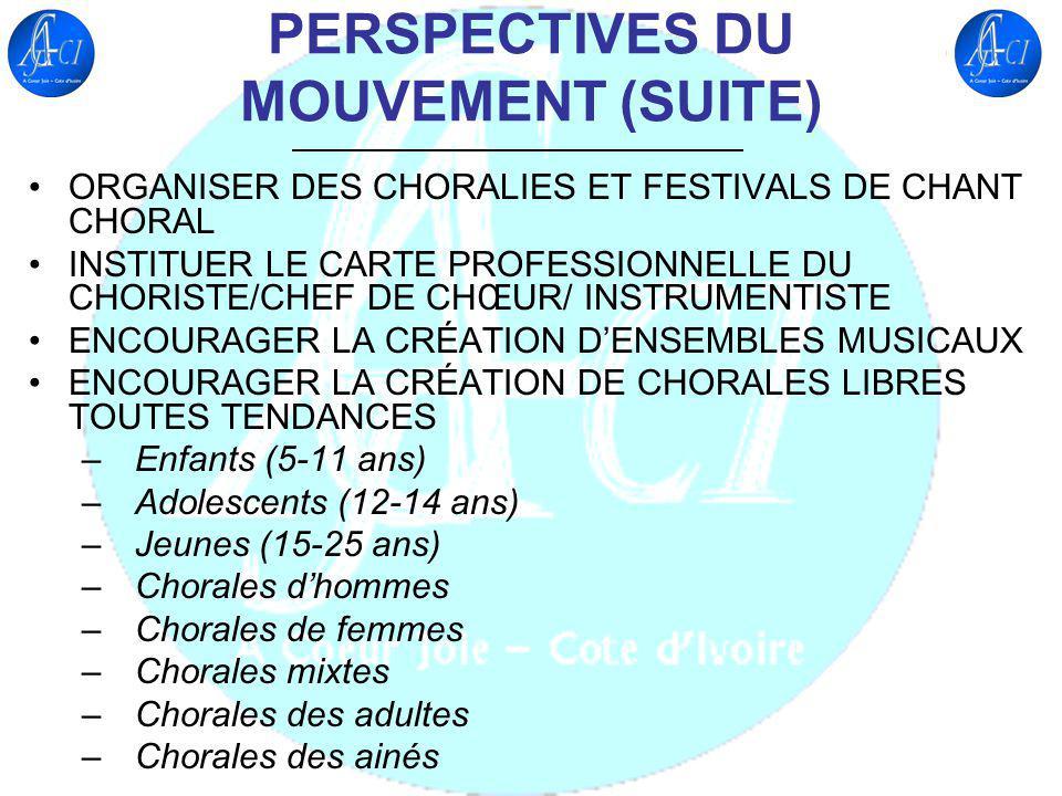 PERSPECTIVES DU MOUVEMENT (SUITE) ORGANISER DES CHORALIES ET FESTIVALS DE CHANT CHORAL INSTITUER LE CARTE PROFESSIONNELLE DU CHORISTE/CHEF DE CHŒUR/ I