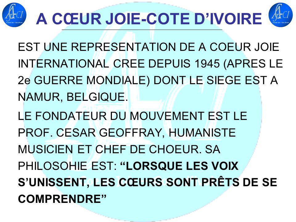 A CŒUR JOIE-COTE DIVOIRE EST UNE REPRESENTATION DE A COEUR JOIE INTERNATIONAL CREE DEPUIS 1945 (APRES LE 2e GUERRE MONDIALE) DONT LE SIEGE EST A NAMUR