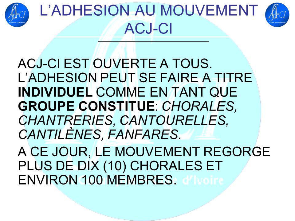 QUELQUES ACTIVITES MENEES DEPUIS LA CREATION DU MOUVEMENT ACJ-CI SEMINAIRE DE FORMATION DES CHEFS DE CHOEUR ET CADRES DE CHORALE, JUILLET 2009 PARTICIPATION A LA 2e EDITION DU FESTIVAL INTERNATIONAL DE CHANT CHORAL FRANCOPHONE DE LOME (FICCFLO), AOUT 2009
