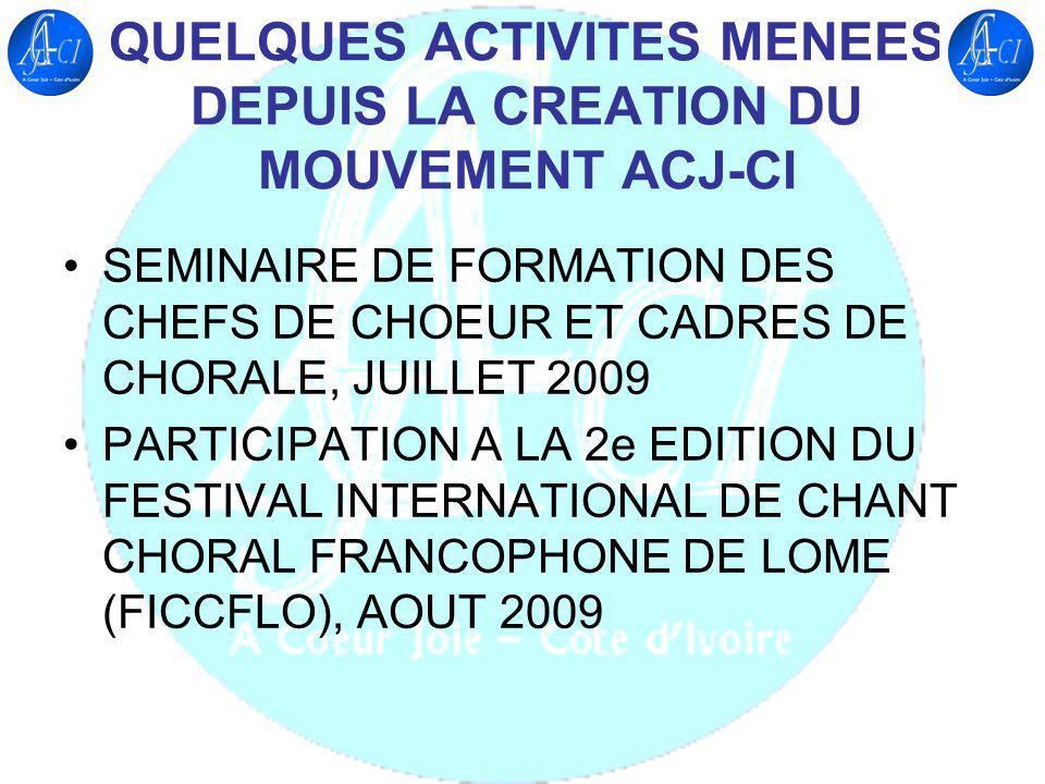 QUELQUES PARTENAIRES EXTERIEURS A CŒUR JOIE INTERNATIONAL FÉDÉRATION INTERNATIONALE DE LA MUSIQUE CHORALE MUSICA INTERNATIONAL FÉDÉRATION TOGOLAISE DE LA MUSIQUE CHORALE FÉDÉRATION CONGOLAISE DE LA MUSIQUE CHORALE CHORUS ASSOCIATION DU BURKINA FASO RENCONTRE INTERNATIONALE DES MUSIQUES DE CHORALE (CONGO BRAZZAVILLE) CHORALE CREDO DU CONGO BRAZZAVILLE CHORALE OKYEMAN DU GHANA WINNEBA YOUTH CHOIR DU GHANA CHŒUR PANAFRICAIN AFRIKIYO DU SÉNÉGAL GROUPE VOCAL LE CHANT SUR LA LOWE DU GABON