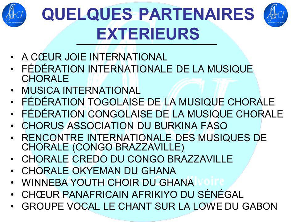 QUELQUES PQRTENAIRES INTERIEURS MINISTÈRE DE LA CULTURE ET DE LA FRANCOPHONIE AGENCE IVOIRIENNE DE COOPÉRATION FRANCOPHONE (AICF) LA CHORALE NATIVITE NOTRE DAME DE BONOUA LA CHORALE NOUVELLE CANAAN DABIDJAN LA CHORALE NAM-FAT DABIDJAN LE CHOEUR HARMONICS LE CHOEUR VOX CHRISTY DABIDJAN
