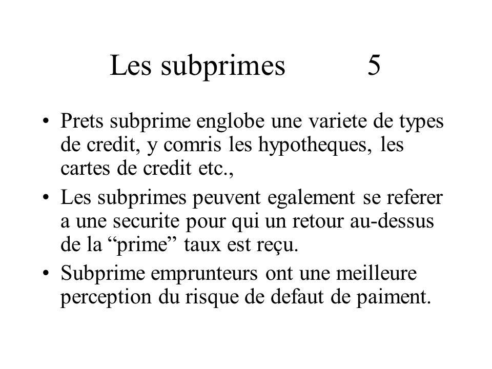 Les subprimes 5 Prets subprime englobe une variete de types de credit, y comris les hypotheques, les cartes de credit etc., Les subprimes peuvent egalement se referer a une securite pour qui un retour au-dessus de la prime taux est reçu.