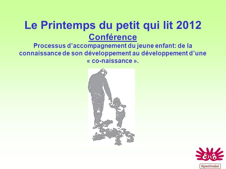 Le Printemps du petit qui lit 2012 Conférence Processus daccompagnement du jeune enfant: de la connaissance de son développement au développement dune « co-naissance ».