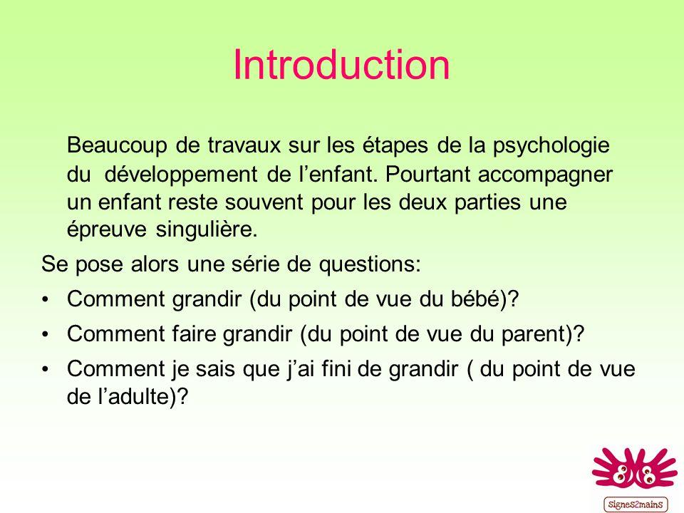 Introduction Beaucoup de travaux sur les étapes de la psychologie du développement de lenfant.
