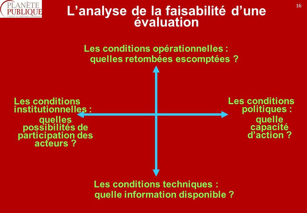 16 Lanalyse de la faisabilité dune évaluation Les conditions opérationnelles : quelles retombées escomptées .