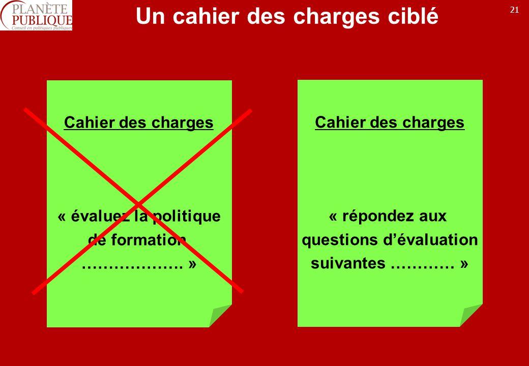 21 Un cahier des charges ciblé Cahier des charges « évaluez la politique de formation ……………….