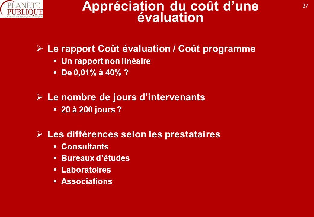 27 Appréciation du coût dune évaluation Le rapport Coût évaluation / Coût programme Un rapport non linéaire De 0,01% à 40% .