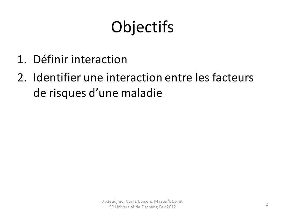 Objectifs 1.Définir interaction 2.Identifier une interaction entre les facteurs de risques dune maladie J Ateudjieu. Cours Epiconc Master's Epi et SP
