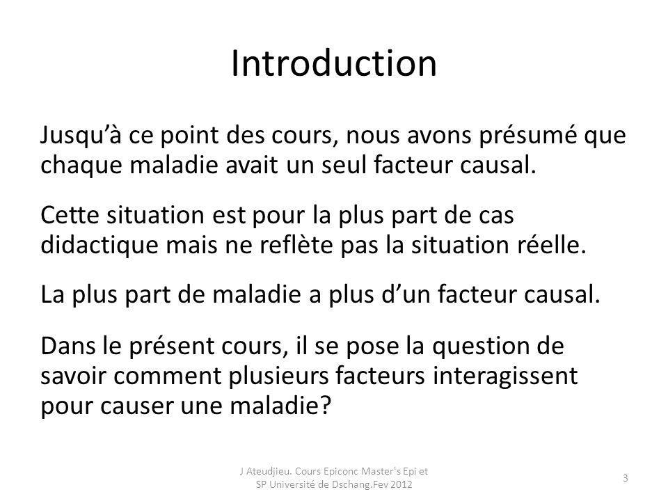 Définition MacMahon définit interaction comme étant la situation dans laquelle le taux dincidence dune maladie en présence de deux ou plusieurs facteurs de risque diffère du taux dincidence attendu, résultant de leffet individuel de chaque facteur.