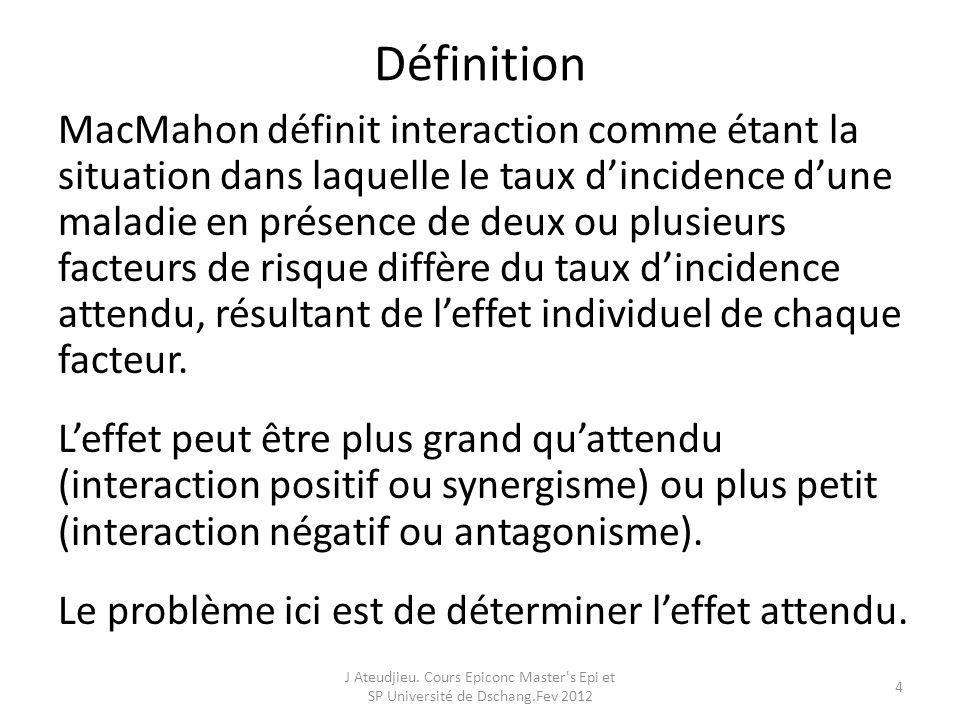 Définition MacMahon définit interaction comme étant la situation dans laquelle le taux dincidence dune maladie en présence de deux ou plusieurs facteu