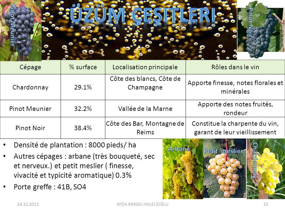Densité de plantation : 8000 pieds/ ha Autres cépages : arbane (très bouqueté, sec et nerveux.) et petit meslier ( finesse, vivacité et typicité aroma