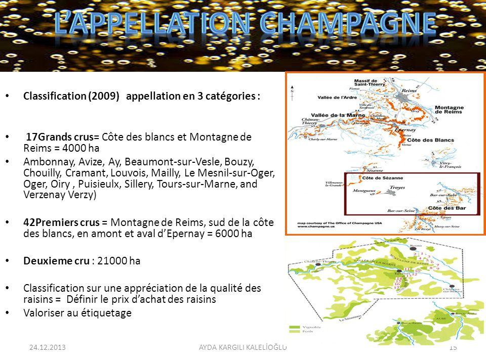 Classification (2009) appellation en 3 catégories : 17Grands crus= Côte des blancs et Montagne de Reims = 4000 ha Ambonnay, Avize, Ay, Beaumont-sur-Ve