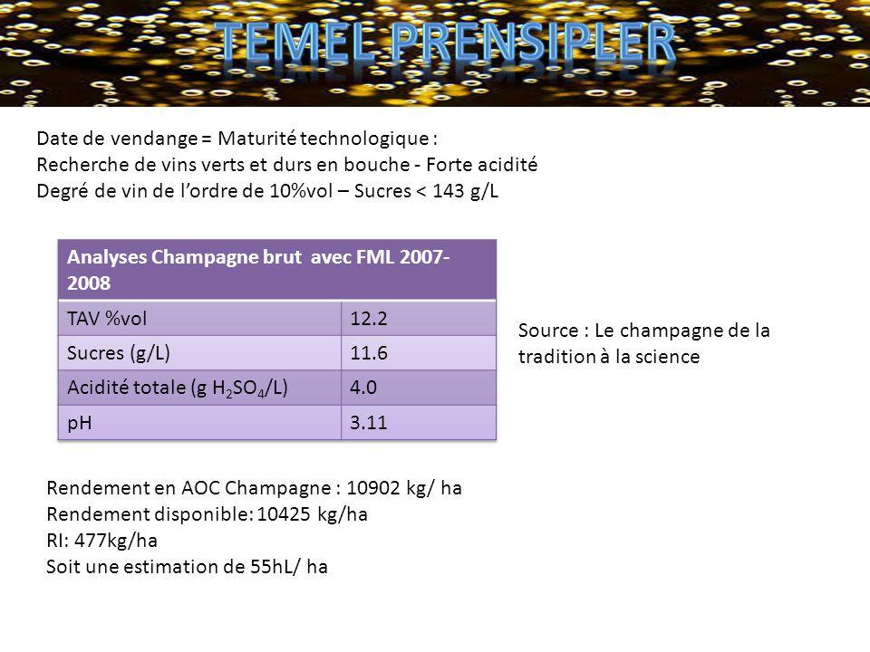 Rendement en AOC Champagne : 10902 kg/ ha Rendement disponible: 10425 kg/ha RI: 477kg/ha Soit une estimation de 55hL/ ha Date de vendange = Maturité t