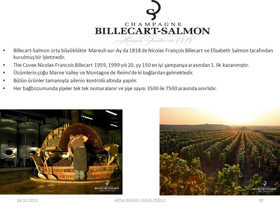 Billecart-Salmon orta büyüklükte Mareuil-sur-Ay da 1818 de Nicolas François Billecart ve Elisabeth Salmon tarafından kurulmuş bir işletmedir. The Cuve