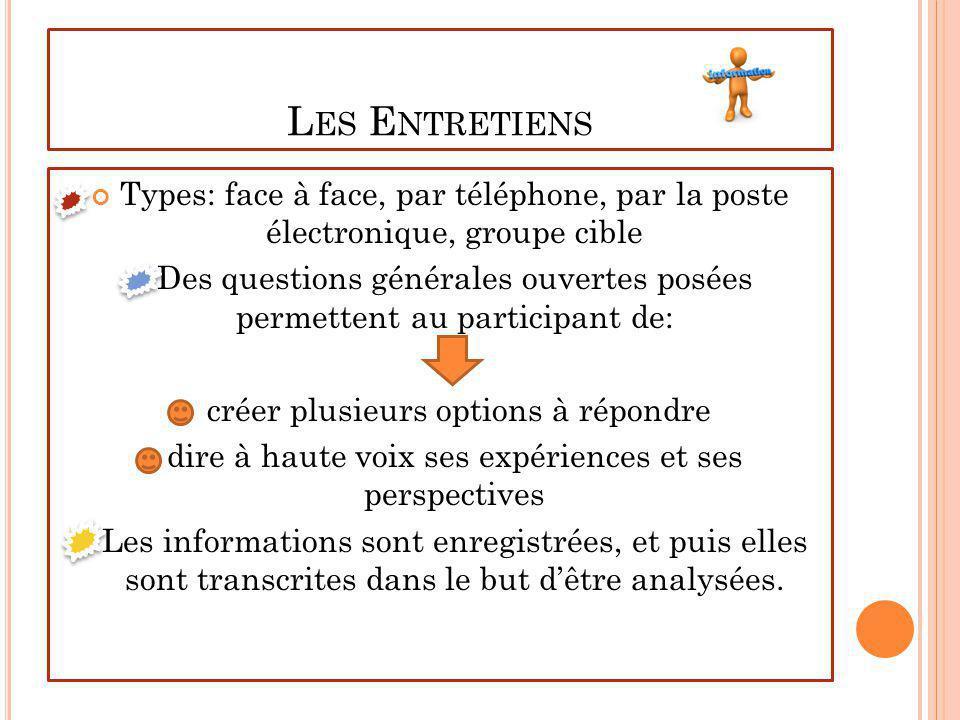 L ES E NTRETIENS Types: face à face, par téléphone, par la poste électronique, groupe cible Des questions générales ouvertes posées permettent au part