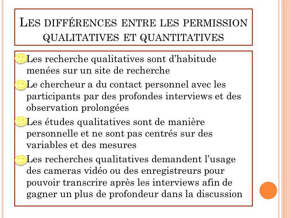 L ES DIFFÉRENCES ENTRE LES PERMISSION QUALITATIVES ET QUANTITATIVES Les recherche qualitatives sont dhabitude menées sur un site de recherche Le cherc