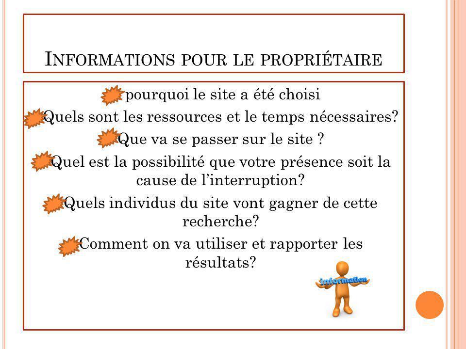 L ES INFORMATIONS QU ON VA COLLECTER Observations Interviews Documents Matériaux auto-visuels
