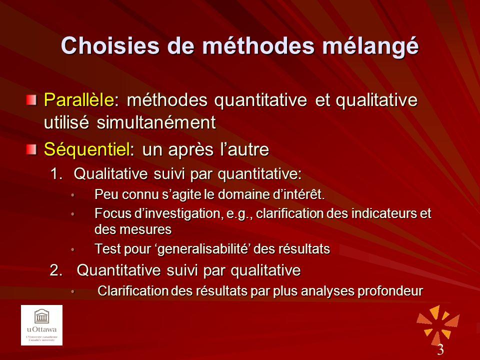 Choisies de méthodes mélangé Parallèle: méthodes quantitative et qualitative utilisé simultanément Séquentiel: un après lautre 1.Qualitative suivi par