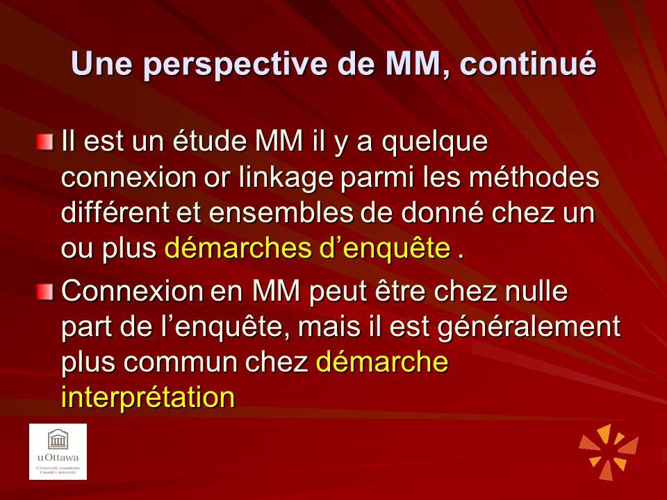 Une perspective de MM, continué Il est un étude MM il y a quelque connexion or linkage parmi les méthodes différent et ensembles de donné chez un ou p