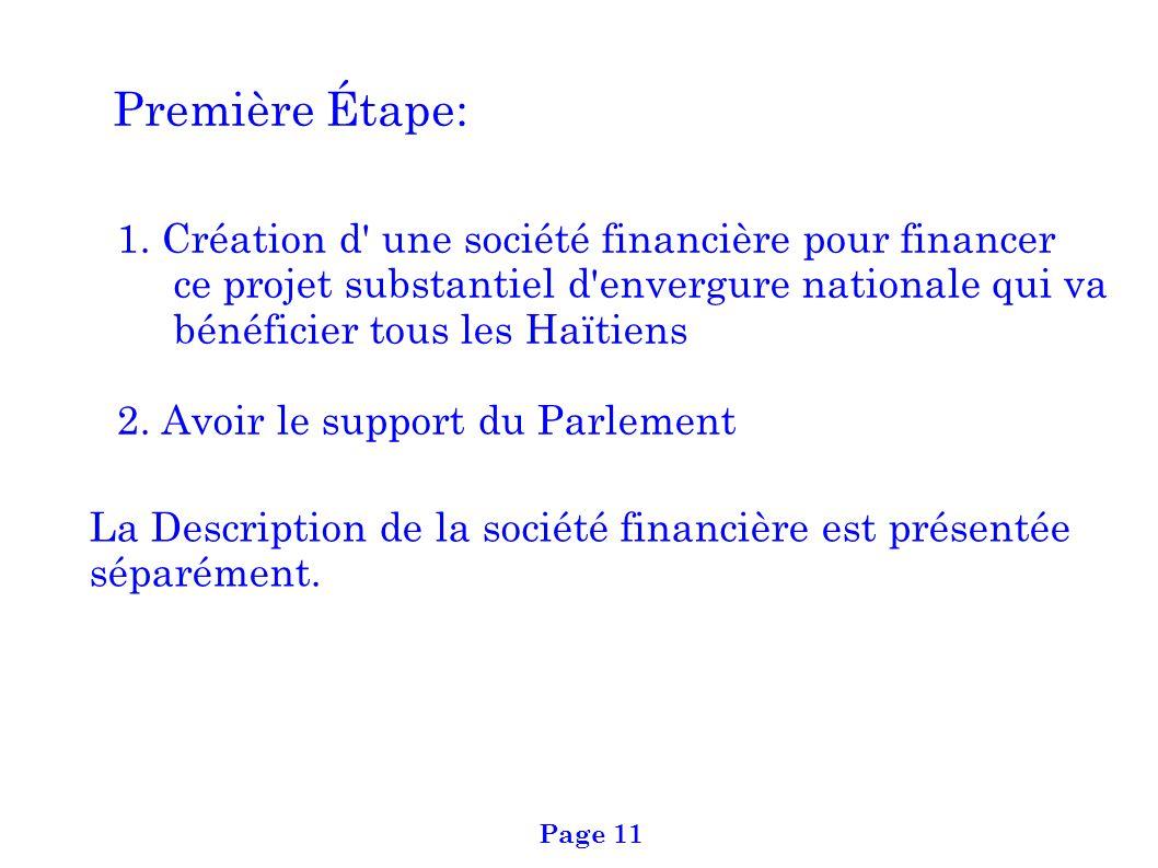 Première Étape: 1. Création d' une société financière pour financer ce projet substantiel d'envergure nationale qui va bénéficier tous les Haïtiens 2.