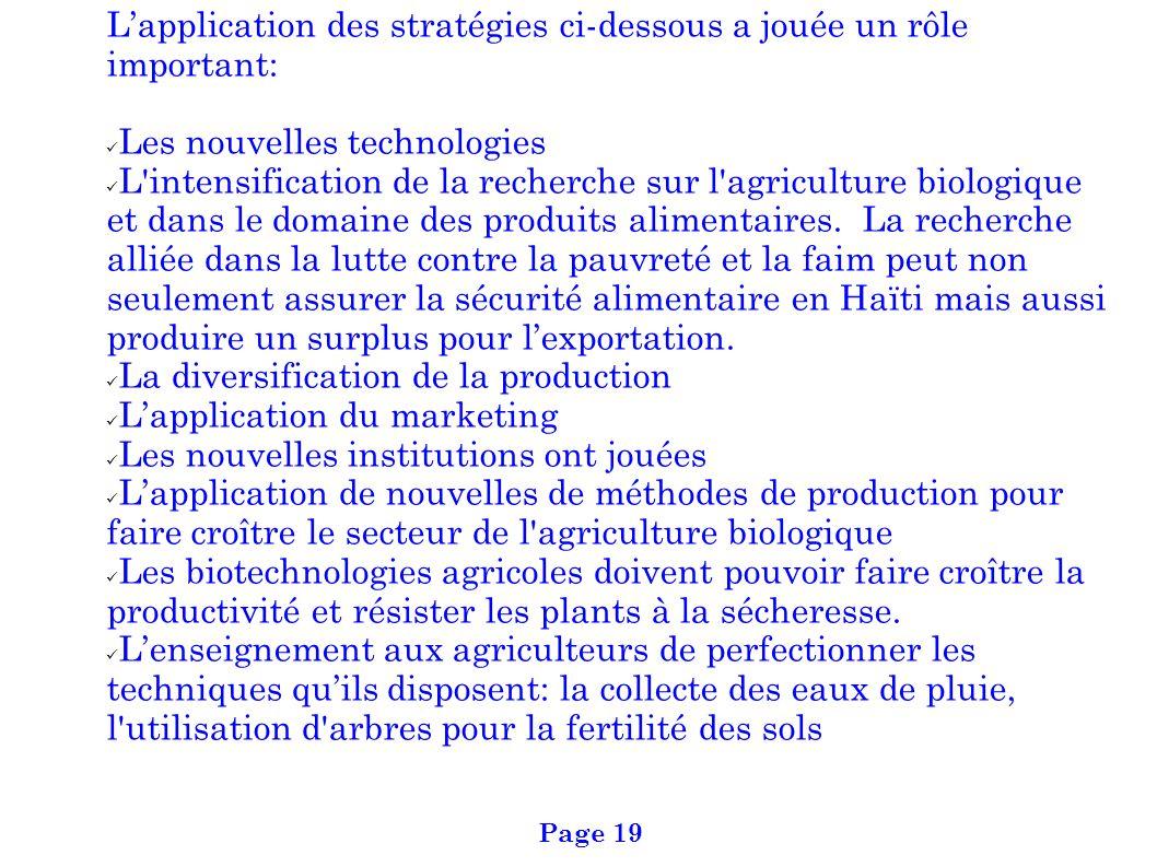 Lapplication des stratégies ci-dessous a jouée un rôle important: Les nouvelles technologies L'intensification de la recherche sur l'agriculture biolo