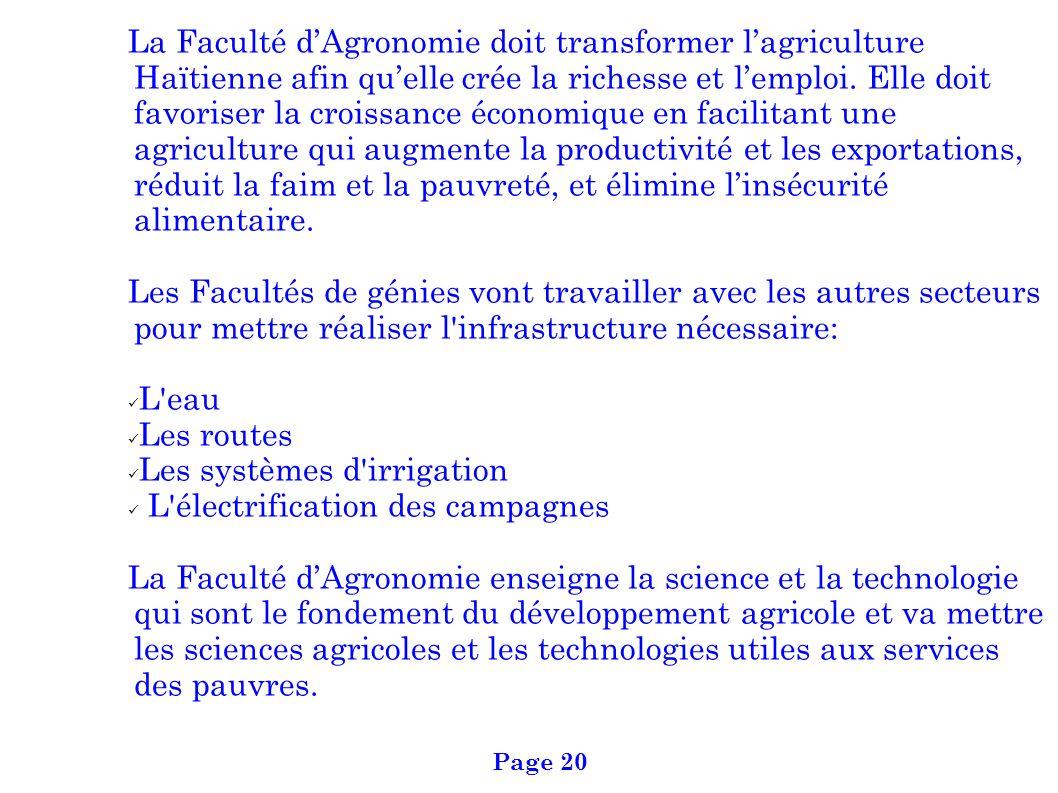 La Faculté dAgronomie doit transformer lagriculture Haïtienne afin quelle crée la richesse et lemploi. Elle doit favoriser la croissance économique en