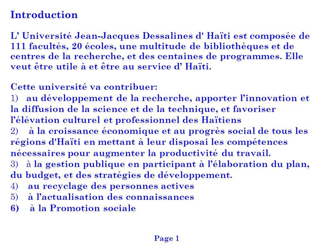 Introduction L Université Jean-Jacques Dessalines d' Haïti est composée de 111 facultés, 20 écoles, une multitude de bibliothèques et de centres de la
