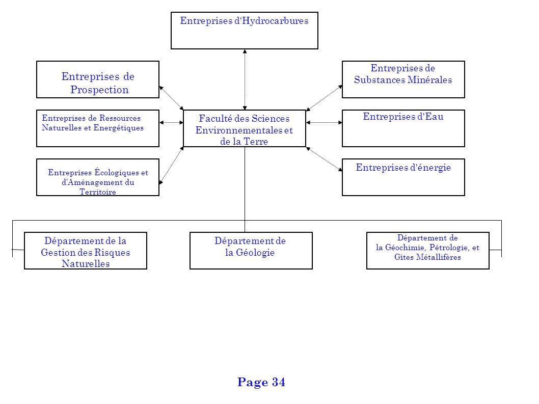 Département de la Géologie Département de la Gestion des Risques Naturelles Département de la Géochimie, Pétrologie, et Gîtes Métallifères Entreprises