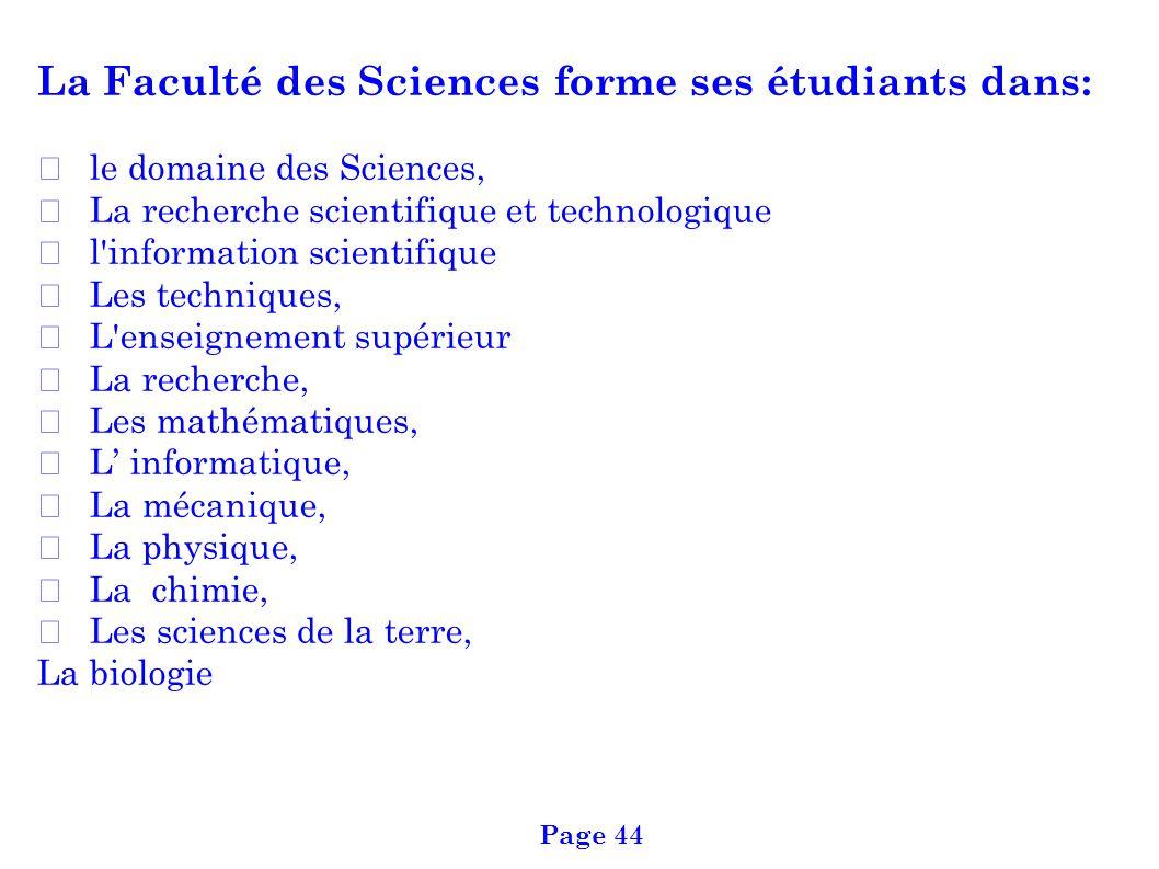 La Faculté des Sciences forme ses étudiants dans: le domaine des Sciences, La recherche scientifique et technologique l'information scientifique Les t