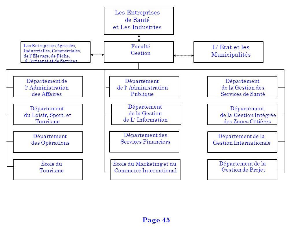 L' Ėtat et les Municipalités Département de l' Administration des Affaires Département de la Gestion de Projet Les Entreprises de Santé et Les Industr
