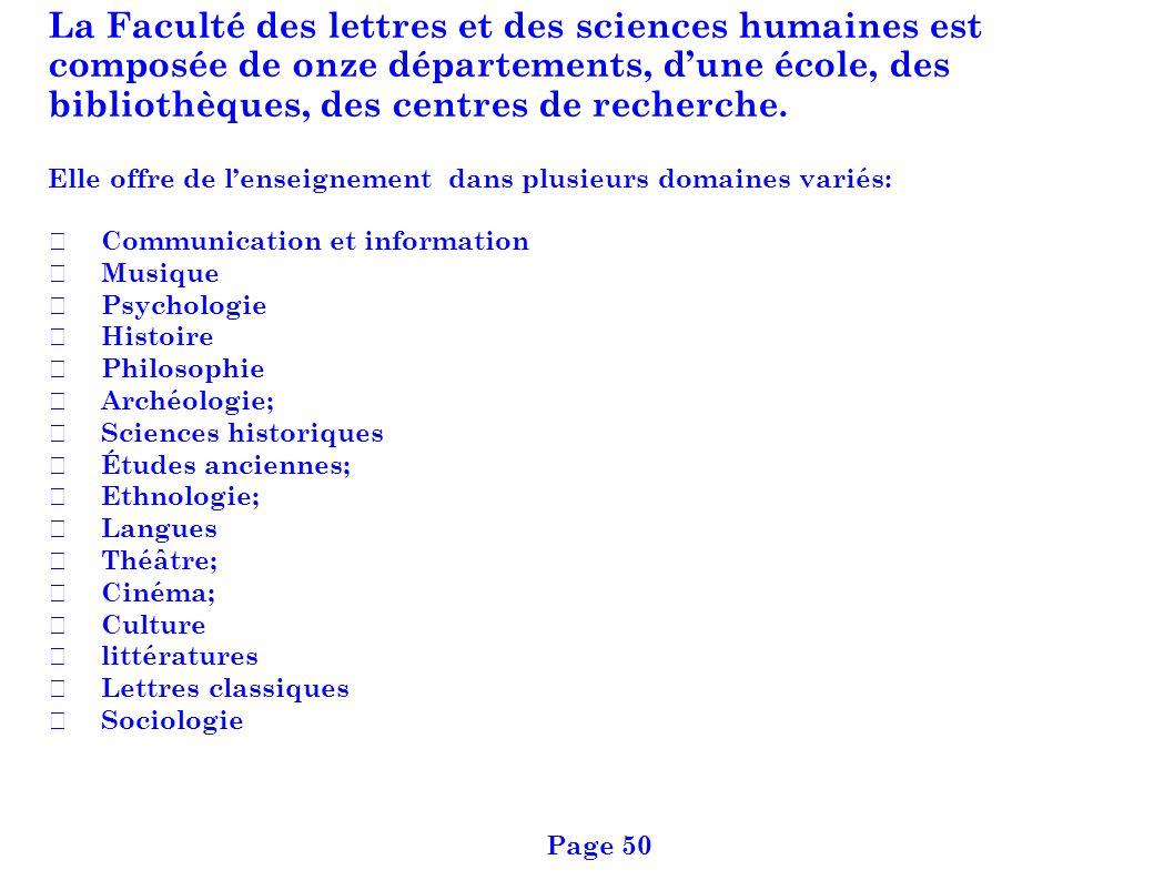 La Faculté des lettres et des sciences humaines est composée de onze départements, dune école, des bibliothèques, des centres de recherche. Elle offre