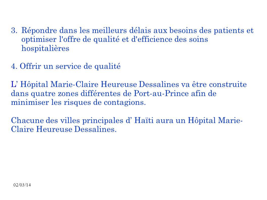 02/03/14 3. Répondre dans les meilleurs délais aux besoins des patients et optimiser l'offre de qualité et d'efficience des soins hospitalières 4. Off