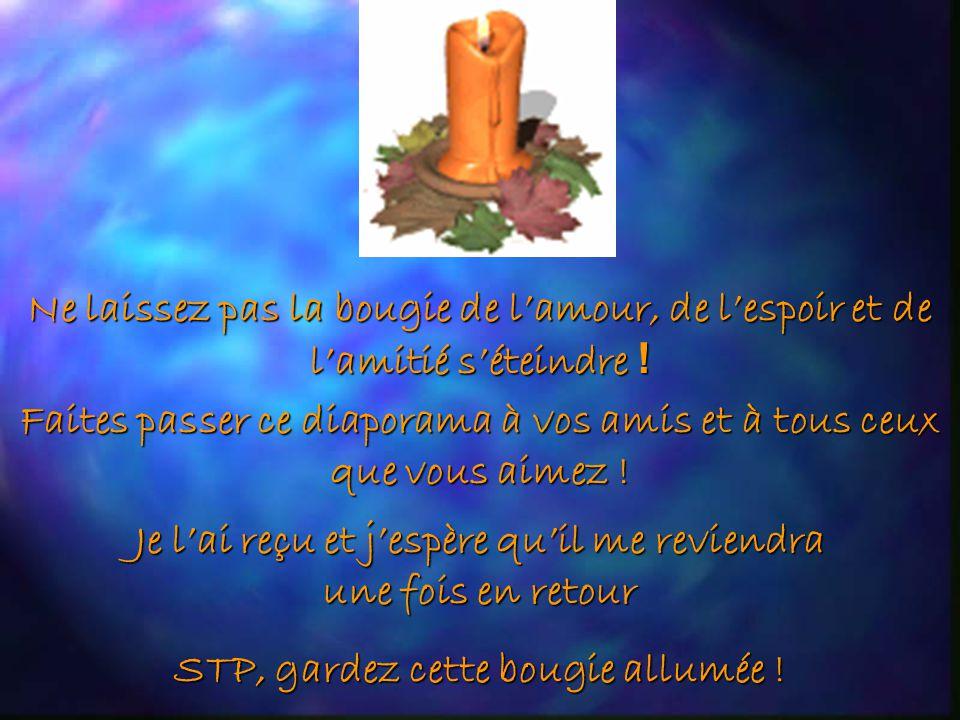 Cette bougie a été allumée Le 15 Septembre, 1998. Quelquun qui vous aime a traduit ce diaporama en Français et la fait revivre en vous l envoyant pour