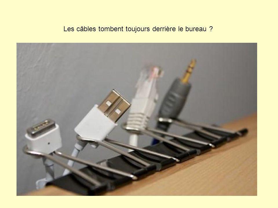 Les câbles tombent toujours derrière le bureau ?