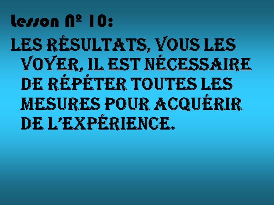 Lesson Nº 10: Les résultats, vous les voyer, il est nécessaire de répéter toutes les mesures pour acquérir de lexpérience.