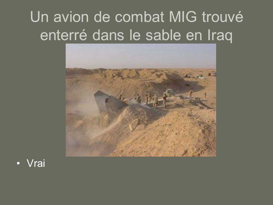 Un avion de combat MIG trouvé enterré dans le sable en Iraq Vrai
