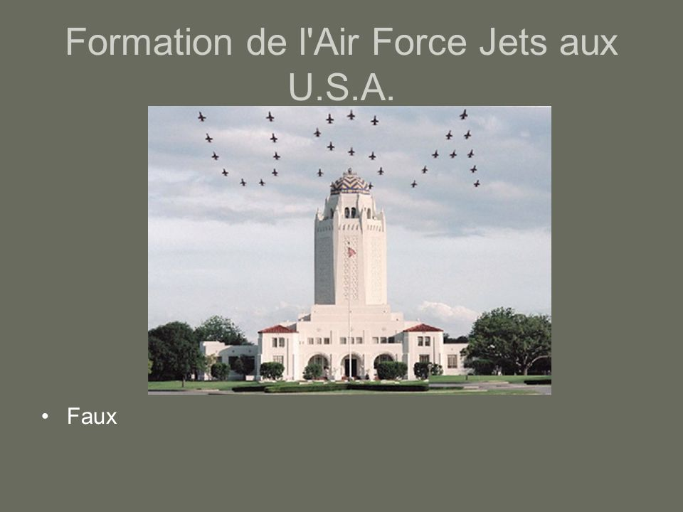 Formation de l'Air Force Jets aux U.S.A. Faux
