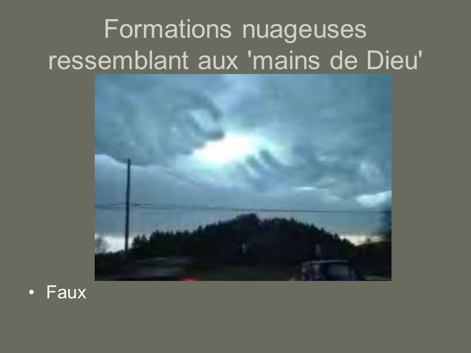 Formations nuageuses ressemblant aux mains de Dieu Faux