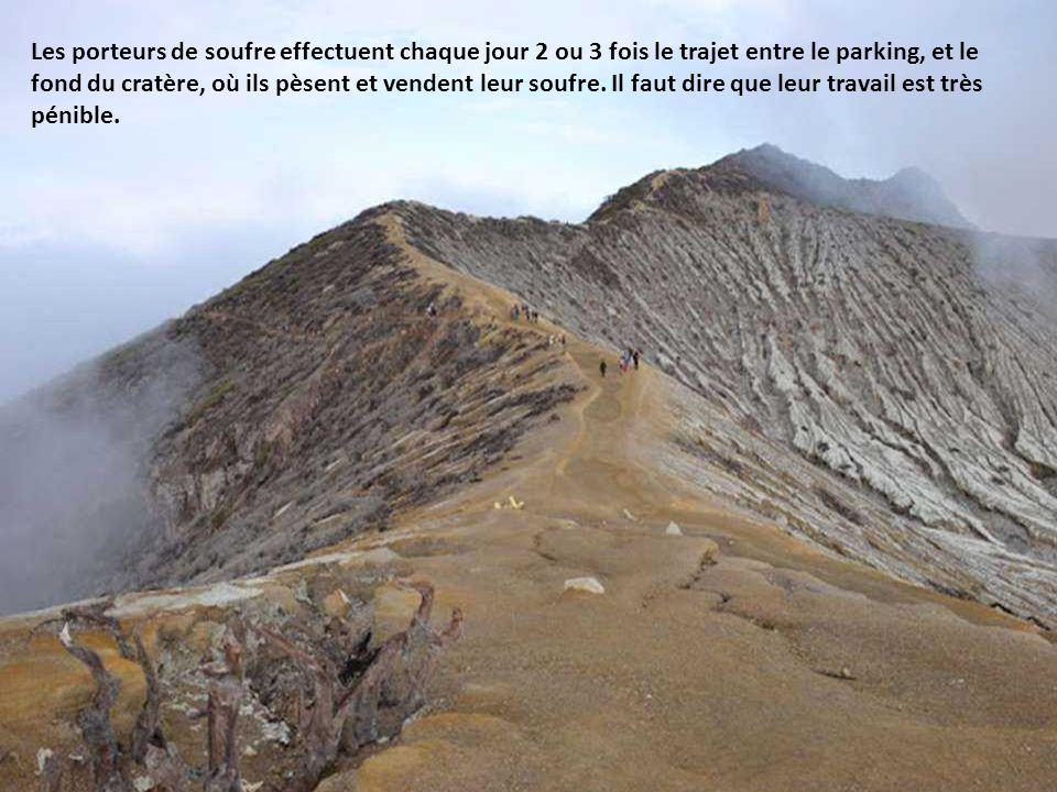 Les porteurs de soufre effectuent chaque jour 2 ou 3 fois le trajet entre le parking, et le fond du cratère, où ils pèsent et vendent leur soufre.