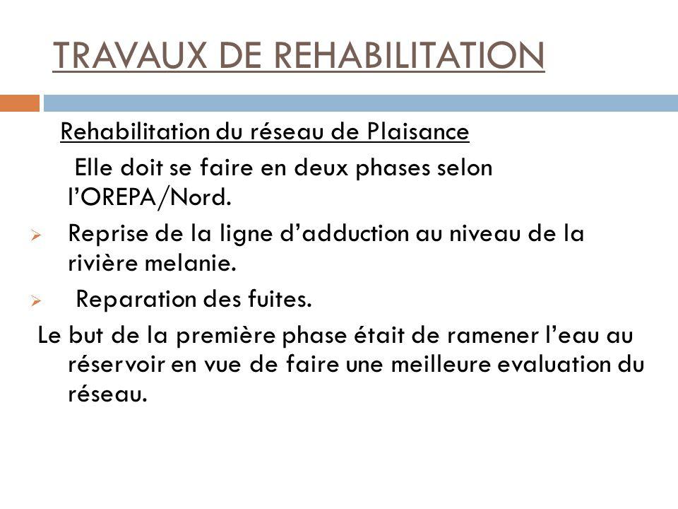 TRAVAUX DE REHABILITATION Rehabilitation du réseau de Plaisance Elle doit se faire en deux phases selon lOREPA/Nord.