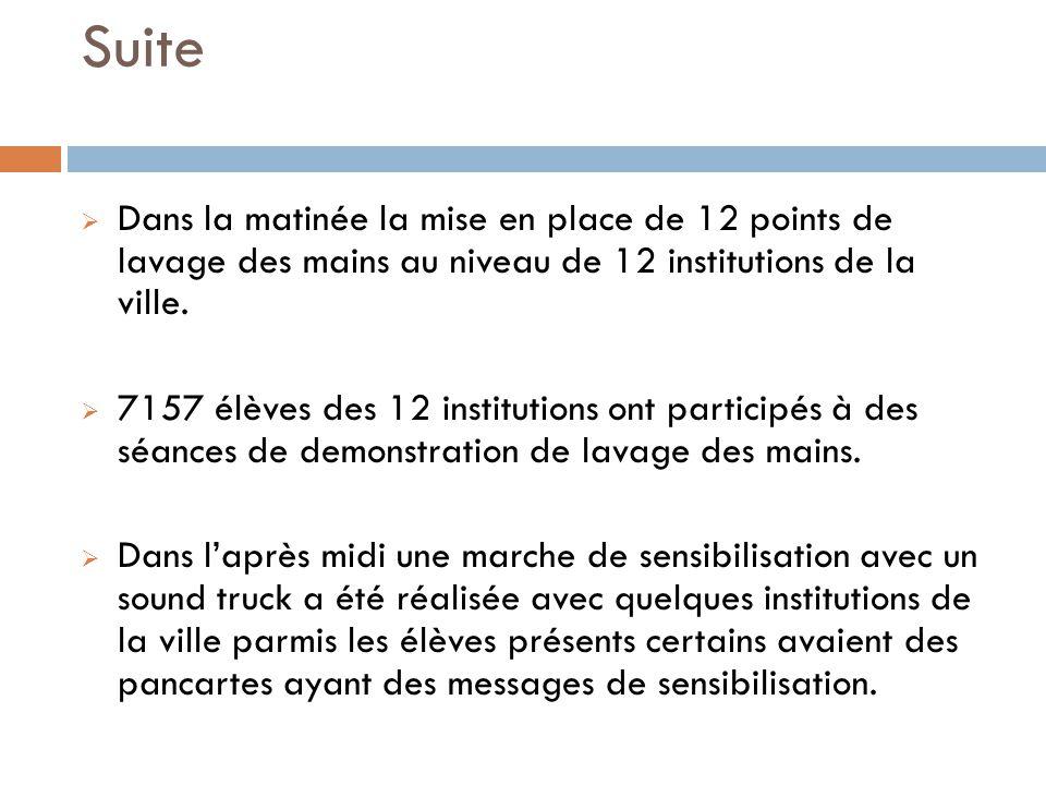 Suite Dans la matinée la mise en place de 12 points de lavage des mains au niveau de 12 institutions de la ville.