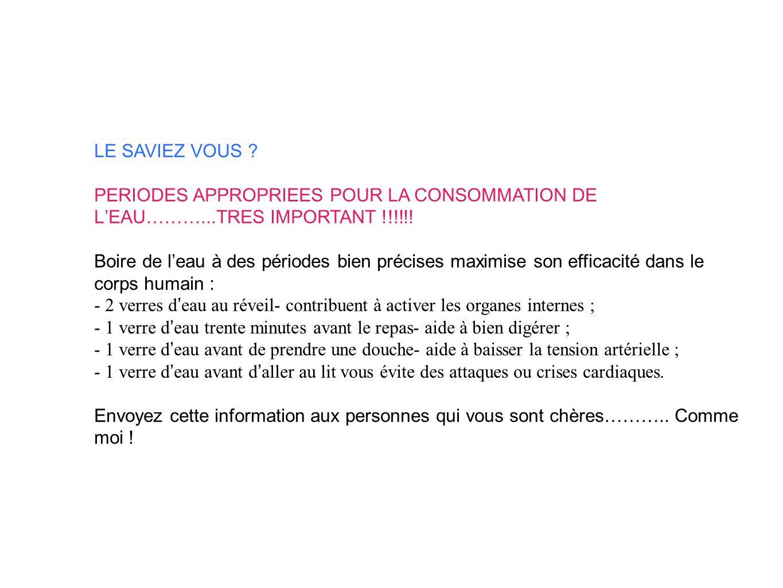 LE SAVIEZ VOUS . PERIODES APPROPRIEES POUR LA CONSOMMATION DE LEAU………...TRES IMPORTANT !!!!!.