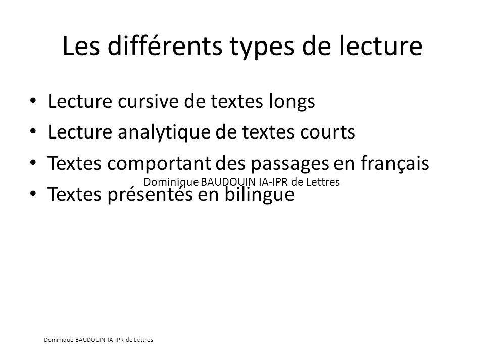 Les différents types de lecture Lecture cursive de textes longs Lecture analytique de textes courts Textes comportant des passages en français Textes présentés en bilingue Dominique BAUDOUIN IA-IPR de Lettres